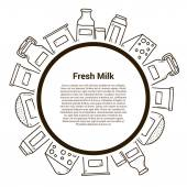 Milk products vector concept with hand drawn objects and copyspace Lactose diet and fresh natural milk template Set of modern hand drawn objects with products containing lactose: milk bottle glass