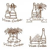 Set of cute hand drawn colorful badges on Cuba theme