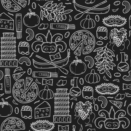 Fond transparent avec dessin animé des objets dessinés à la main de style sur le thème de l'Italie : gondla, nourriture, masque, Pise, Colisée, huile d'olive, notion de vecteur voyage