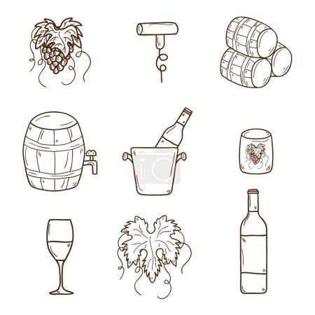 Illustration pour Ensemble d'icônes de vin de dessin animé dans le style dessiné à la main : bouteille, verre, tonneau, raisins, tire-bouchon. Vignoble ou concept restauré pour votre design - image libre de droit
