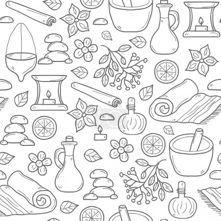 Illustration for Seamless ayurveda background in hand drawn style: herbs, stones, oil, spices, aromatherapy, towel. Auyrveda healthcare and treatment concept for your design - Royalty Free Image