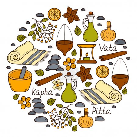 Illustration for Round ayurveda background in hand drawn style: herbs, stones, oil, spices, aromatherapy, towel. Auyrveda healthcare and treatment concept for your design - Royalty Free Image