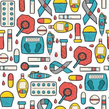 Illustration for Seamless hand drawn cartoon background on diabetes theme - Royalty Free Image