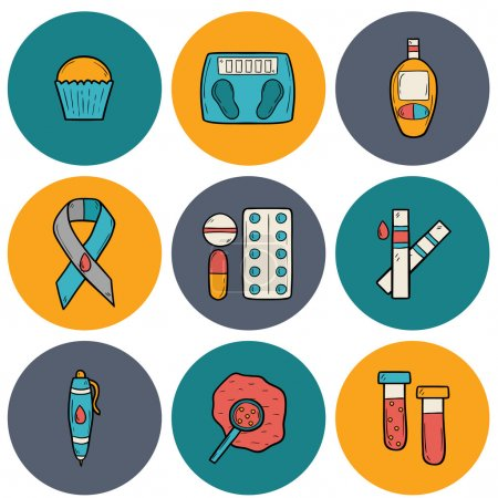 Illustration for Set of cartoon icons on diabetes theme in hand drawn style - Royalty Free Image
