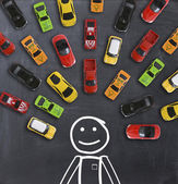 Top view on colorful toy cars