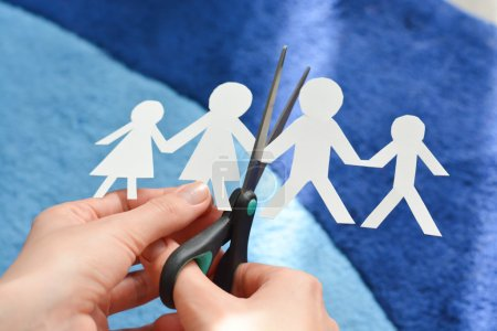 Family divorce concept with human figures