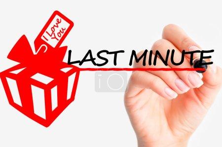 Photo pour Dernière minute cadeau texte écrit à la main sur tableau blanc - image libre de droit
