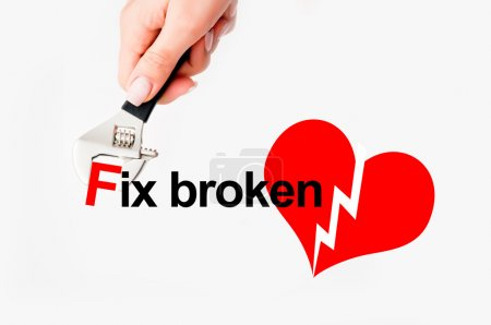 Photo for Broken heart doctor text on white - Royalty Free Image