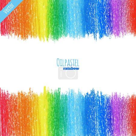 Illustration for Handpaint oil pastel rainbow background - Royalty Free Image