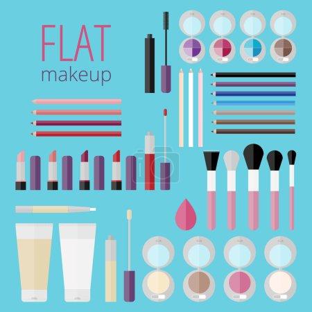 Flat mega set of makeup products