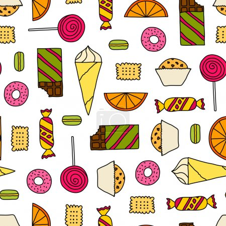 Illustration for Colorful seamless texture with cookies, chocolates, cakes and candies. Doodle seamless pattern with colored thin line candies on white background. - Royalty Free Image