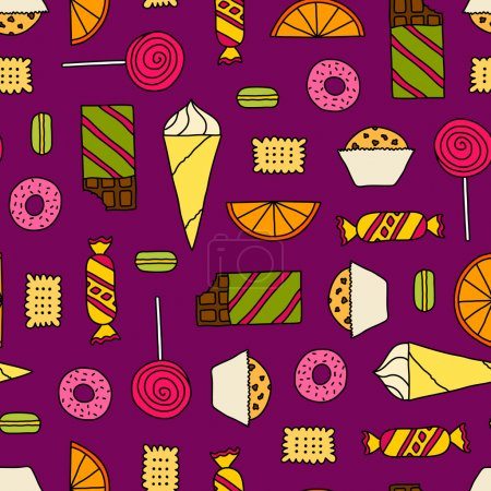 Illustration for Colorful seamless texture with cookies, chocolates, cakes and candies. Doodle seamless pattern with colored thin line candies. - Royalty Free Image
