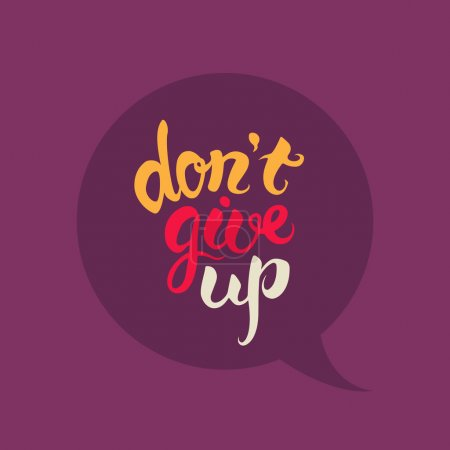 Illustration for Dont give up hand drawn lettering.Motivational colorful poster - Royalty Free Image