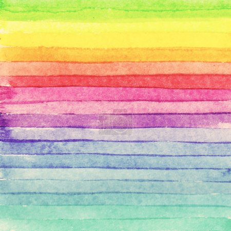 Striped hand drawn watercolor background. Raster version. Brigth colors.