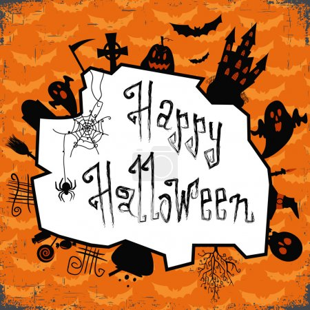 Happy halloween card. Design template, with pumpkin, bats, castle,candy and other elements.