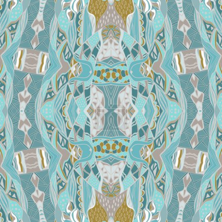 Illustration for Traditional ornamental paisley bandanna. Hand drawn background with artistic pattern. Pastel colors. Seamless pattern can be used for wallpaper, fills, background - Royalty Free Image