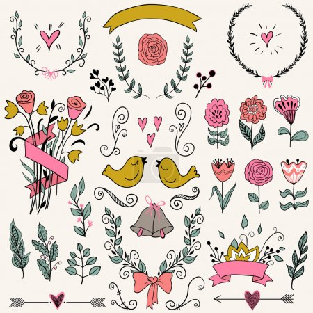 Romantic graphic set, arrows, hearts, birds, bells, rings, laurel, wreaths, ribbons and bows.