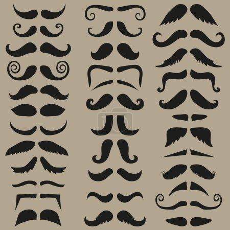 Vector set of hipster mustache. Black silhouette. Easy for edit.