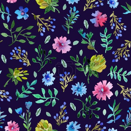 Illustration for Watercolor painting. Watercolor Seamless pattern with Beautiful flowers and leaves. lower pattern on black background. - Royalty Free Image