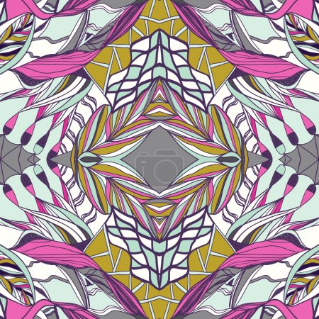Illustration for Hand drawn colorful aztec pattern with artistic pattern. Bright colors. Seamless pattern can be used for wallpaper, fills, background - Royalty Free Image