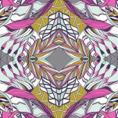 Traditional ornamental paisley bandanna.  Pink, violet and yellow colors.