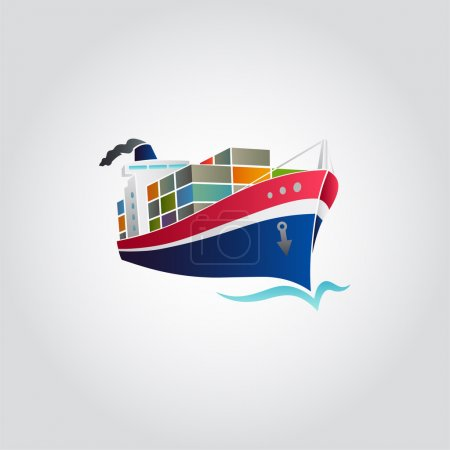 Tanker  ship with containers icon