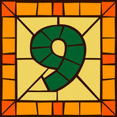 9 - Mosaic numbers stained glass window