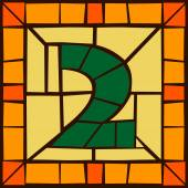 2 - Mosaic numbers stained glass window with frame or tile design vector illustration