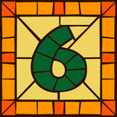 6 - Mosaic numbers stained glass window