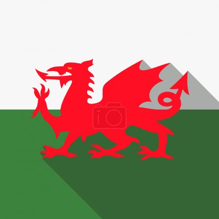 Flag of Wales  UK - Red dragon on the white and gr...