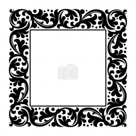 Illustration for Floral square abstract frame. vector illustration - Royalty Free Image