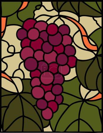 Illustration pour Cépages à feuilles, illustration vectorielle en vitrail - image libre de droit