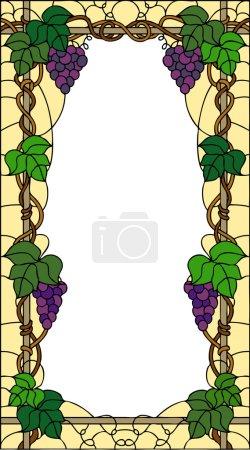 Illustration pour Raisin d'été avec feuilles, composition décorative, design d'intérieur, illustration vectorielle en vitrail - image libre de droit