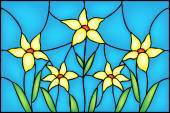Decorative  Narcissus daffodil flowers floral composition in stained glass window style vector illustration