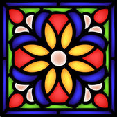 Gothic ornament  with flower in stained window