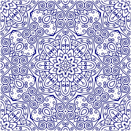 Illustration for Oriental traditional ornament, Mediterranean seamless pattern, tile design, vector illustration - Royalty Free Image