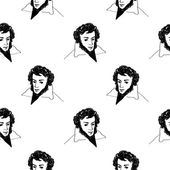 Sketched alexander pushkin russian classic poet seamless pattern