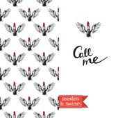 Double sided modern greeting card with flying lipstick on angel wings seamless pattern background icon and lettering vector illustration