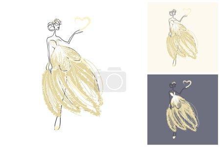 Illustration pour Mode attrayant fond de mariage de mode avec mariée. Belle esquisse dessinée à la main sur fond. Mode, style, beauté, carte de vœux publicitaire, bannière, design - image libre de droit