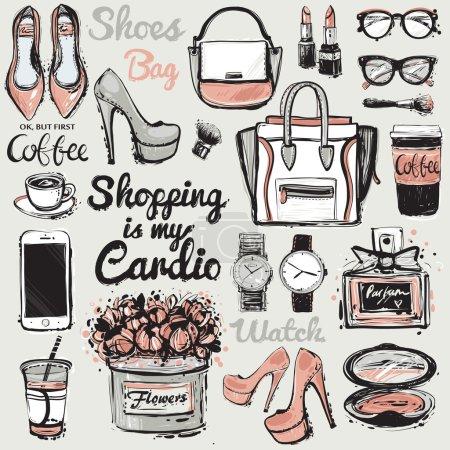 Big fashion accessories sketch set