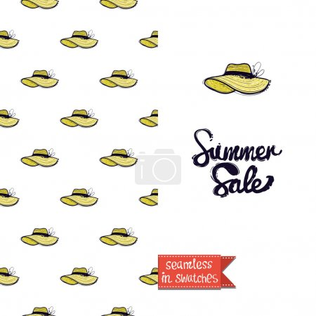 greeting card with trendy summer hat