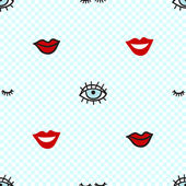 pattern with lowered lashes blue eye smile red lips