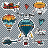 Set of kids style sky transport patches: retro aerostats or balloons vintage airplane antique dirigible helicopters and planes Vector stickers pins or badges design kit