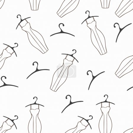 Illustration for Doodle dresses and hangers seamless pattern. Monohrome backgroung - Royalty Free Image