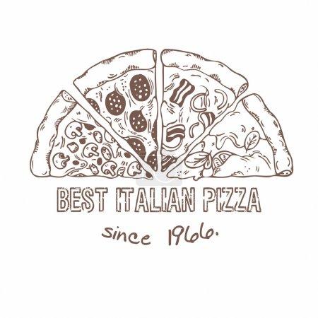 Illustration pour La moitié de la pizza avec différentes tranches. De la nourriture dessinée. Illustration vectorielle croisée - image libre de droit