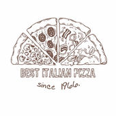 Half of pizza with different slices Sketched vector illustration