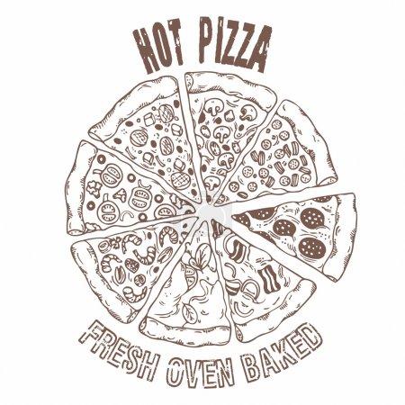 Illustration pour Ensemble de différentes tranches de pizza dans le vecteur. Dessiner à la main. Illustration de style croquis - image libre de droit