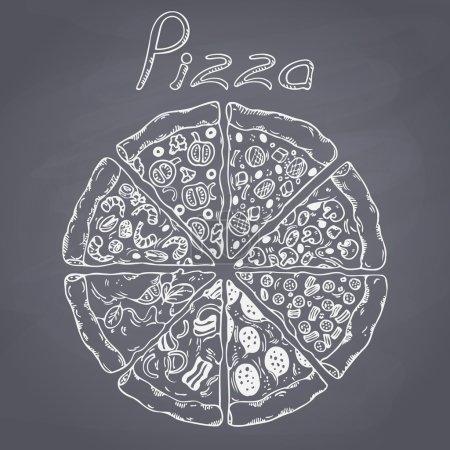 Illustration pour Ensemble de différentes tranches de pizza dans le vecteur. De la nourriture dessinée. Illustration à la craie. Arrière-plan tableau - image libre de droit