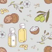 Healing oils seamless pattern Vector illustration Healthy background