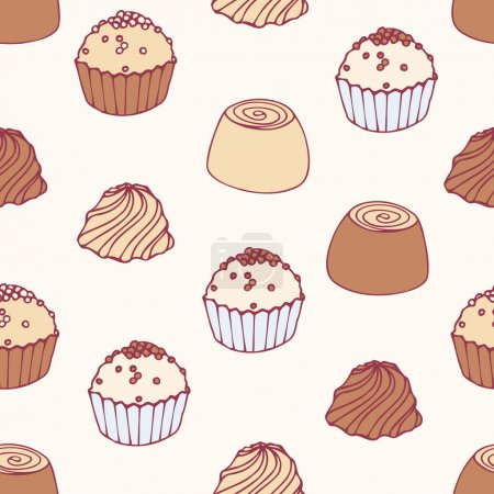 Seamless pattern with hand drawn chocolate candies